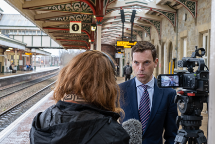 Ken Skates AM being interviewed at Wrexham Station