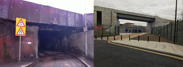 Bolina Road in Lewisham reopens after transformation by Network Rail: Bolina before and after