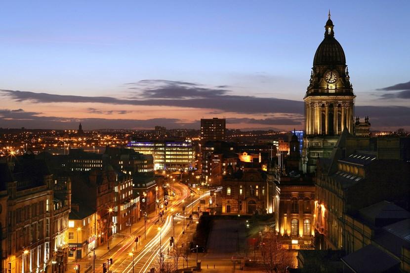 Leeds Town Hall marks Earth Hour: headrowandtownhallatnight.jpg