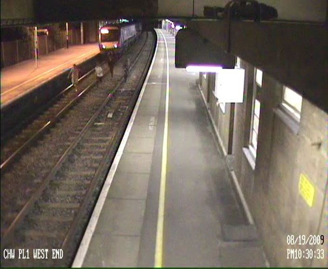 Youths trespass at Chalkwell station, Southend-on-sea