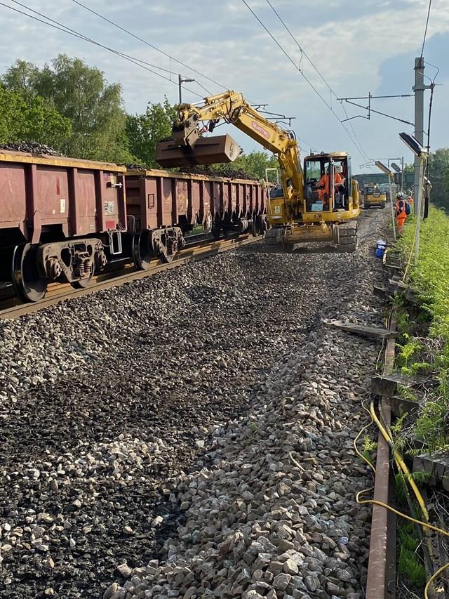 Preston Brook track foundation work in Cheshire