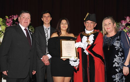 Shauna Maragh - winner of the Ben Kinsella Award 2019: With Ben Kinsella's parents, Ramzy Alwakeel, Editor of the Islington Gazette and Mayor of Islington Cllr Dave Poyser