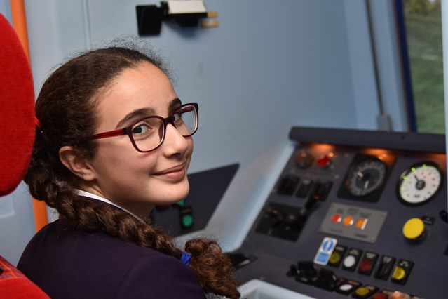 PICTURES: Students learn to drive trains during inaugural Rail Week: Zalihe tries her hand at driving a train using Network Rail's driver simulator