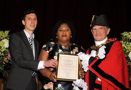Jessica Plumber - winner of the Mayor's Civic Awards 2019: With Ramzy Alwakeel, Editor of the Islington Gazette and Mayor of Islington Cllr Dave Poyser