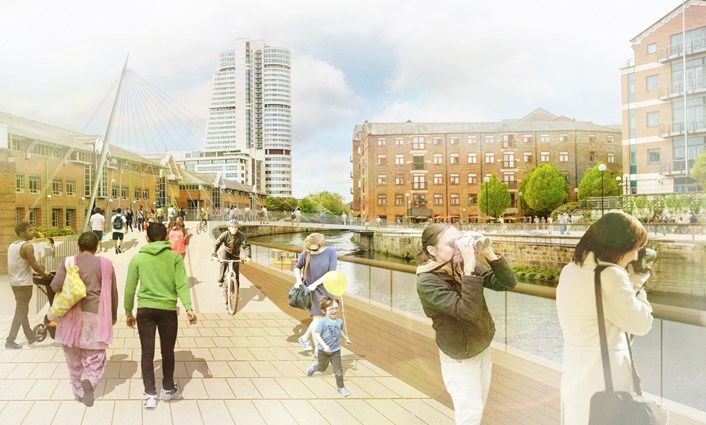 Leeds receives £18.604m from Getting Building Fund to support city's COVID recovery: New River Aire footbridge from Sovereign Square