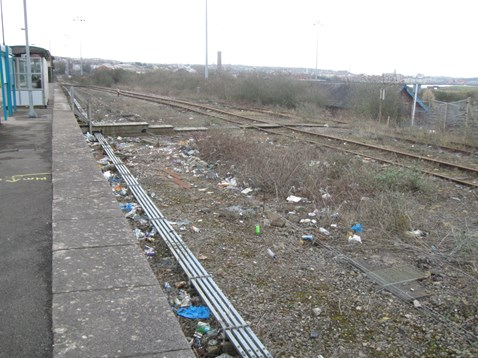 Rubbish dumped near Barry station