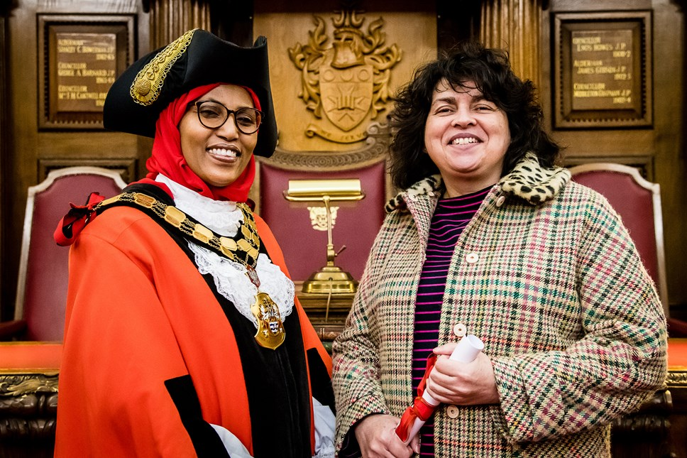 Adult learners celebrate success: Mayor of Islington, Cllr Rakhia Ismail with ACL Learner Liz Collins