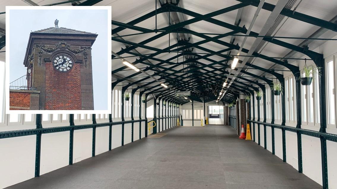 Nuneaton's historic station clock and footbridge get £4m upgrade: Nuneaton station footbridge and clock composite