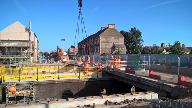 Carillion's smaller rail suppliers to be paid arrears: Splott Road Bridge demolition 270817 2
