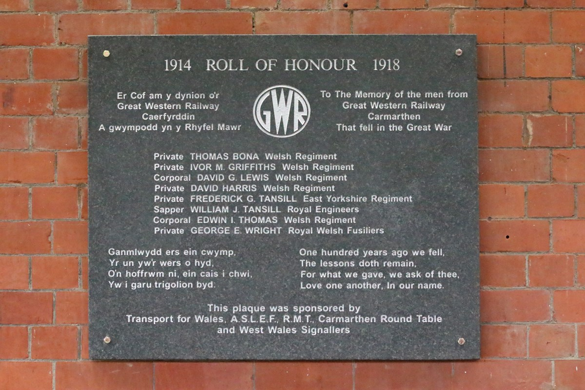 Carmarthen station plaque