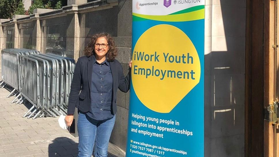 Cllr Asima Shaikh outside the Hospitality Jobs Fair held at Islington Assembly Hall - CROPPED