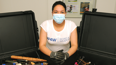 Word 4 Weapons manager Camara Fearon with the contents of a knife bin