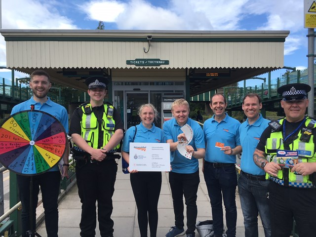 Network Rail raises awareness of the dangers of trespassing on the railway in South Wales in the run up to Christmas: Bollo at Prestatyn railway station for last summer's trespass campaign with the BTP