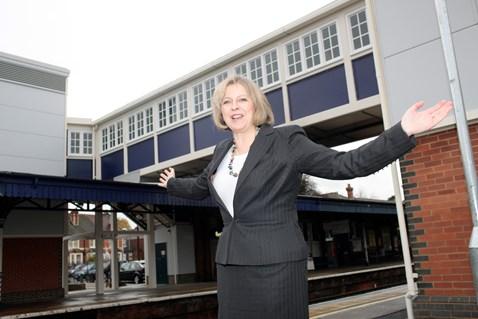 Theresa May MP at Twyford's new footbridge