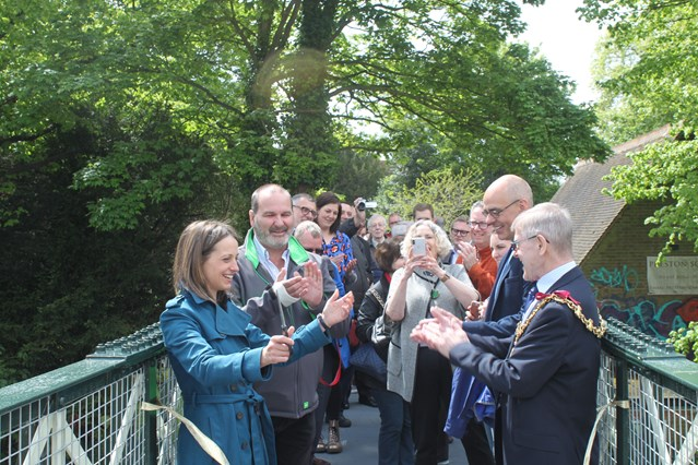 Faversham footbridge on Preston Lane unveiled today by local MP, Helen Whately after vital refurbishment: Faversham footbridge opening