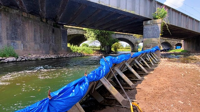 Dam in place on the River Trent in Rugeley for railway viaduct protection work