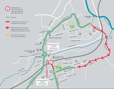 Pembroke Road Diversion map 1