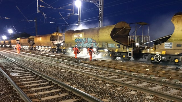 West Coast main line upgrades completed over late May Bank Holiday: Week 8 Euxton Jn unloading ballast on the Down Slow 2 (1)