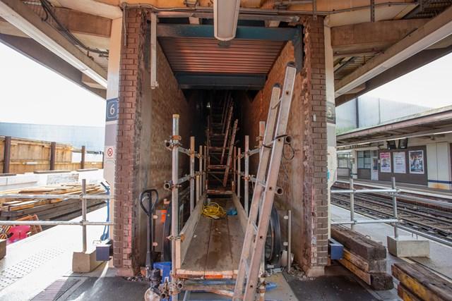 Former escalator shaft Gatwick Airport platforms 5+6