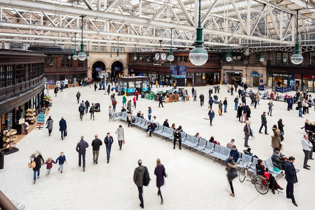 Passengers at the heart of new plans for multi-billion investment in Scotland's railway: Glasgow Central - concourse with crowd