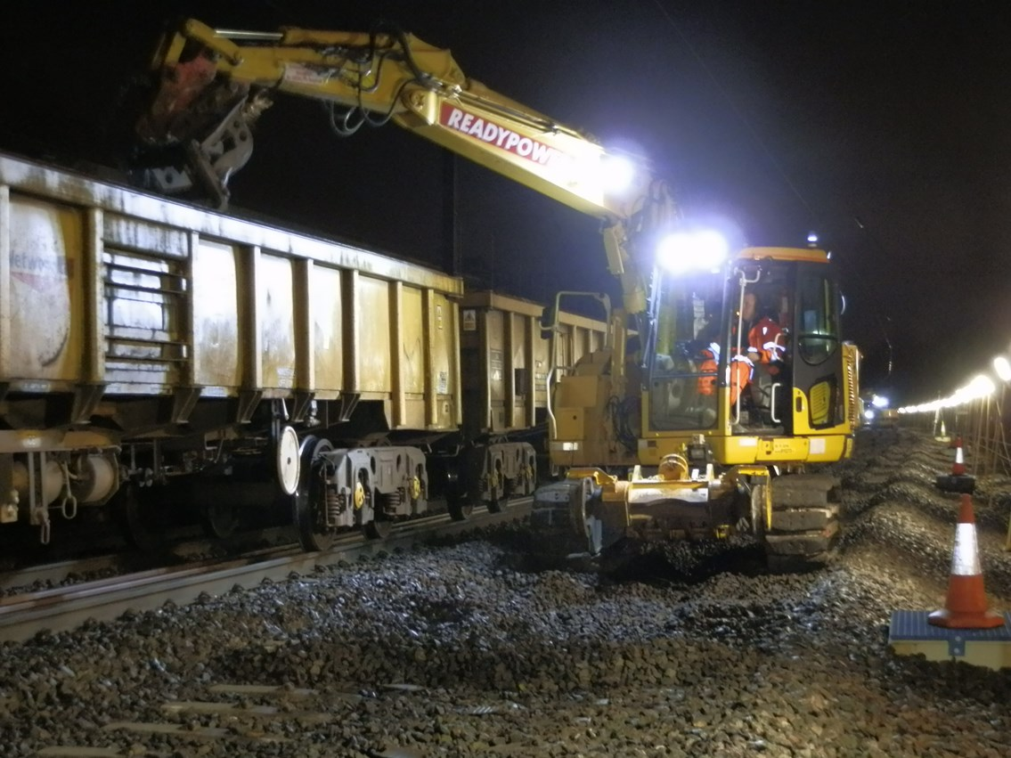 Track renewal at Langley (1): Christmas 2015, engineering, IP Track. high speed handback, ballast, road rail vehicle