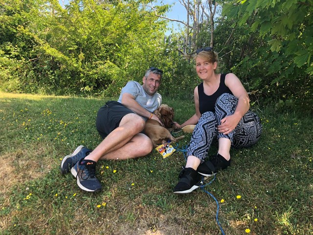 Owners Alan and Laura with Rover after his railway ordeal