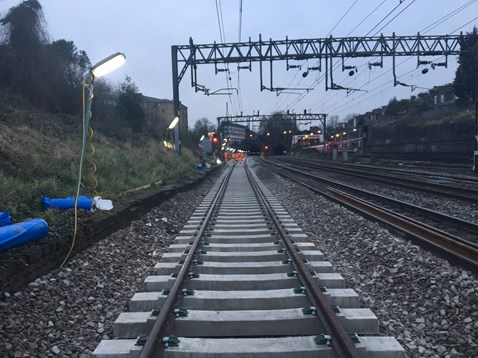 Track renewal at Kensal Green on the West Coast main line