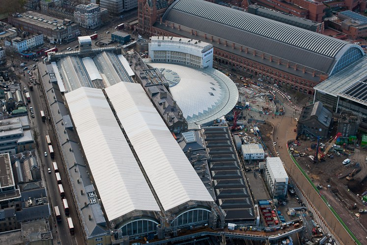 Revamped King's Cross station provides double boost for local economy: King's Cross from the air