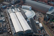 King's Cross from the air: The new western concourse, which follows the sweeping curve of the Great Northern Hotel, takes shape at King's Cross