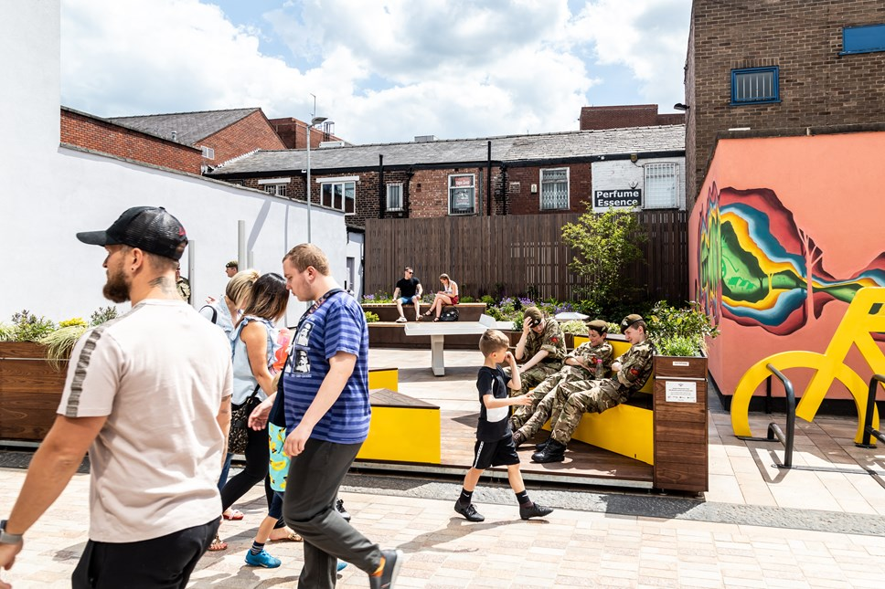 Parklet success as 95% of people want more installed across Greater Manchester: TfGM Stockport Parklet - crowd