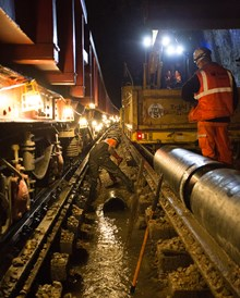 SE Route Easter- Sevenoaks: Burying the new drainage pipes in the depths of Sevenoaks Tunnel