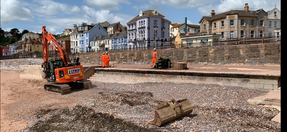 Work begins on new sea wall which will help protect vital rail artery to the south west for next 100 years: IMG 8233