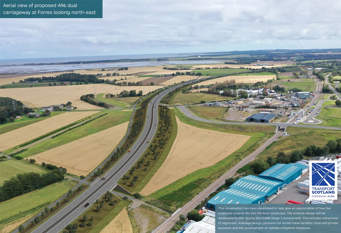 A96 - Hardmuir to Fochabers - aerial of proposed A96 dual carriageway at Forres looking north-east