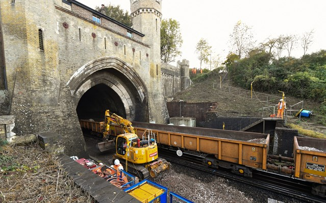 Brighton Mainline Improvements on schedule as passengers reminded of November closures: Brighton Mainline Upgrade Clayton Tunnel Oct 18 (9)