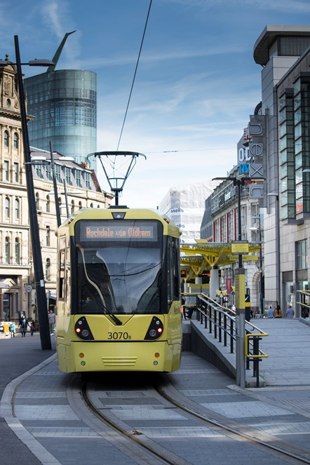 Metrolink thriving, say Government figures: Metrolink tram at Exchange Square stop