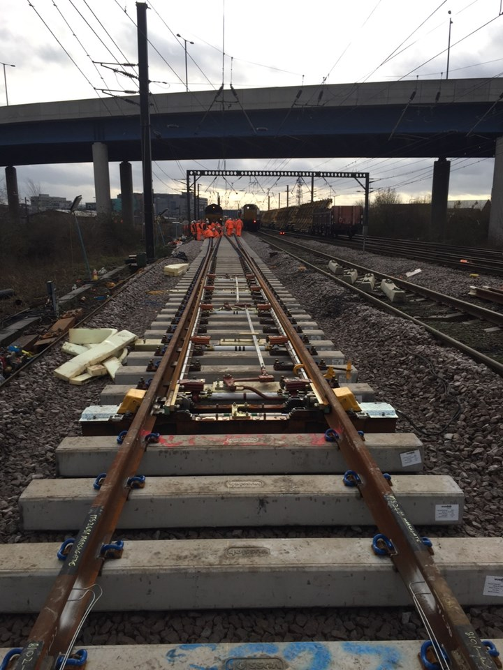 New points installed at Doncaster Marshgate: Christmas 2015, engineering, IP Track. high speed handback, points, rails, railway