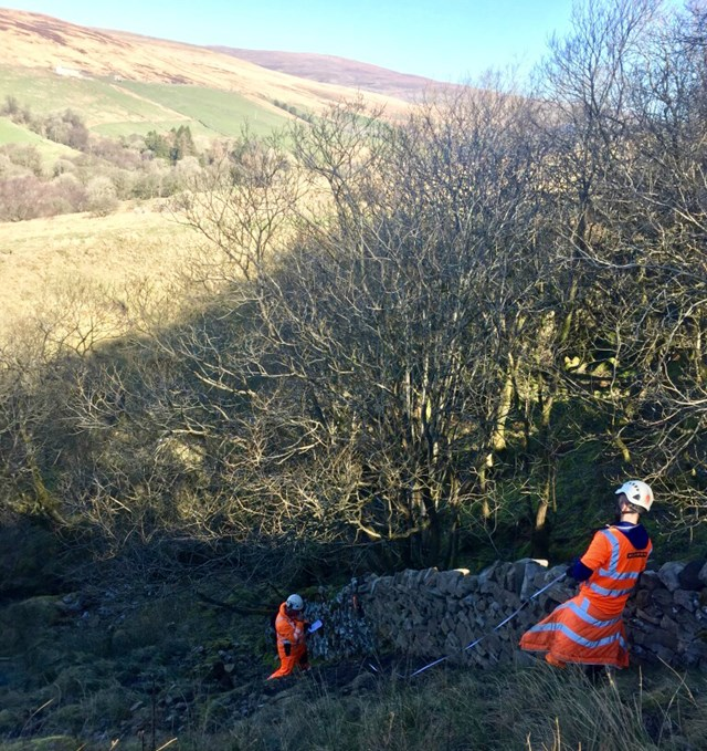 Repairs to dry-stone walls during the Cumbrian winter