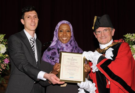 Sadia Ali - winner of the Mayor's Civic Awards 2019: With Ramzy Alwakeel, Editor of the Islington Gazette and Mayor of Islington Cllr Dave Poyser