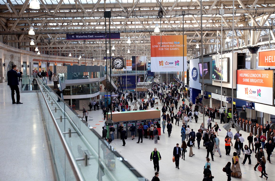 WATERLOO STATION'S NEW 220m BALCONY OPENS TO REDUCE CONGESTION IN TIME FOR OLYMPIC GAMES: New balcony at Waterloo station