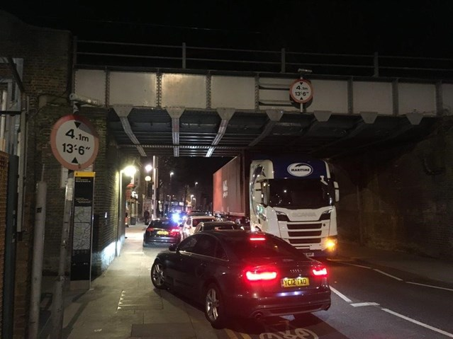 A bridge too far: Three bridge strikes in two days in East London and Norfolk: Bridge strike wood street 2