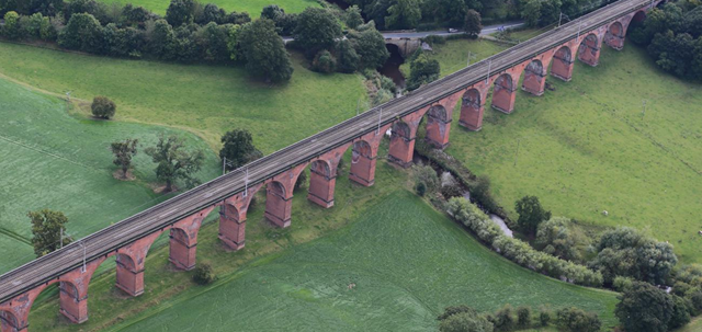 Network Rail invests £17m in Cheshire bridge and viaduct this February: Holmes Chapel Aerial view