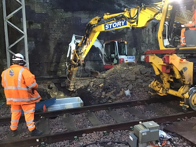 Track-side drainage work completed on the route between Edge Hill and Lime Street