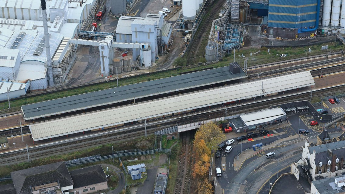 Up, up and away: Easter lift for Warrington Bank Quay bridges: Warrington Bank Quay station aerial picture