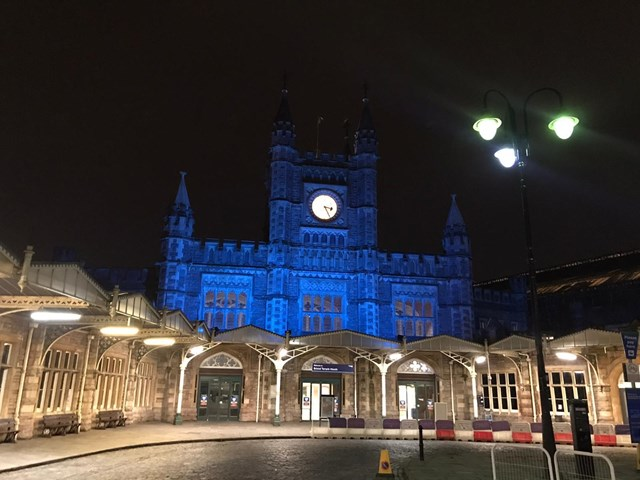 Bristol Temple Meads goes blue for the NHS: Bristol Temple Meads lit up in blue