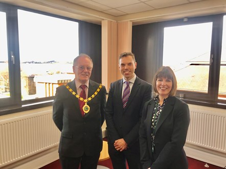 Traffic Commissioner's Caernarfon office officially opens: (From left) Chairman of Gwynedd council, Councillor Edgar Wyn Owen, with Economy, Transport and North Wales Minister Ken Skates, and Traffic Commissioner for Wales Victoria Davies