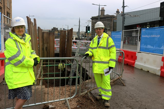 HaymarketRoseannaCunningham1: Cabinet Secretary for the Environment Roseanna Cunningham meeting COO of Scottish Water's alliance partner Amey Black and Veatch (aBV) Steve Canny, at the £2.5 million sewer replacement project on Edinburgh's Haymarket Terrace.