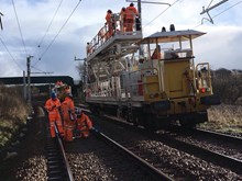 A wiring train on the Manchester-Preston railway upgrade