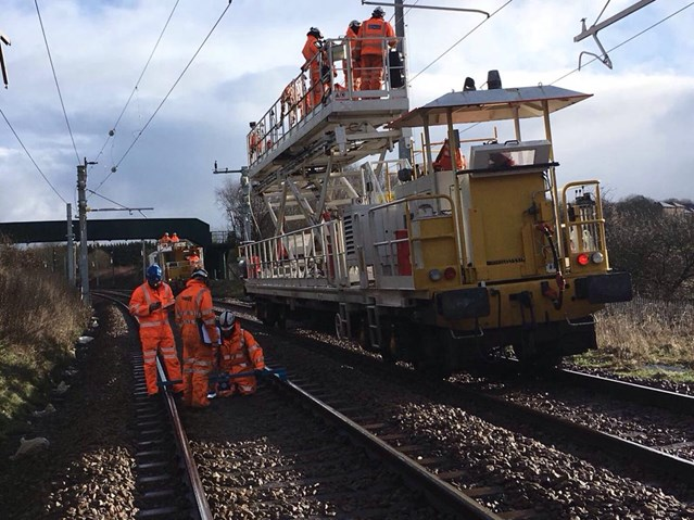 Manchester-Preston railway upgrade – final programme of work confirmed: A wiring train on the Manchester-Preston railway upgrade
