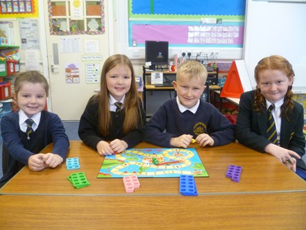 Primary 2SC pupils L-R: Aimee Cormack, Madison Thomas, Innes McLennan, Mahri Rigby.: Praise for Cluny Primary from Education Scotland