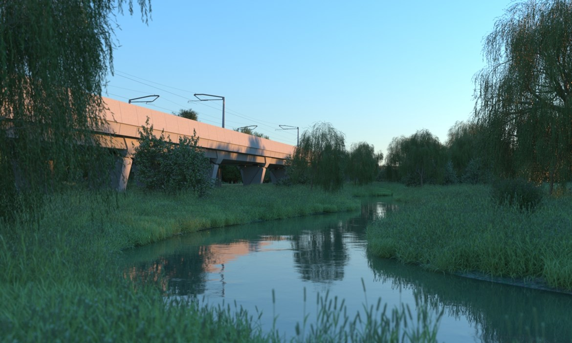 HS2 reveals viaduct designs for Edgcote and Lower Thorpe: Edgcote Viaduct Artist Impression October 2020